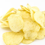 Snack potato chips isolated on white Stock Photos