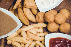 Snack potato platter with dips Stock Photos