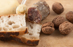 Snack with salami, cheese and bread Royalty Free Stock Photography