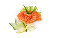 Snack from salmon. On white background Stock Photos