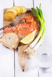 Snack with salted salmon Royalty Free Stock Photography