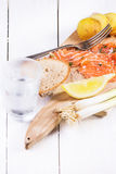 Snack with salted salmon Stock Photography