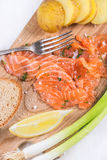 Snack with salted salmon Stock Images
