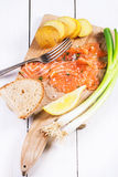 Snack with salted salmon Royalty Free Stock Photos