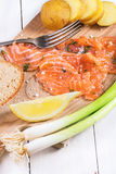 Snack with salted salmon Royalty Free Stock Image
