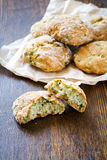 Snack scones with basil and parmesan Stock Photos