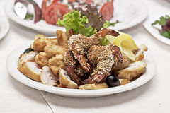 Snack from seafood. On a table in a plate there is a snack from seafood Royalty Free Stock Image