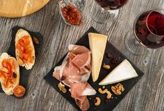Snack set and red wine Royalty Free Stock Image