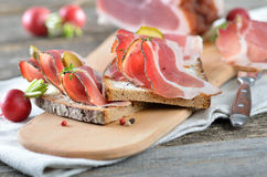 Snack with smoked bacon Royalty Free Stock Photography