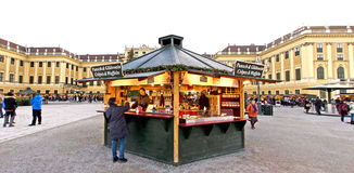 Snack stand at the advent market of the palace of Schoenbrunn Stock Image