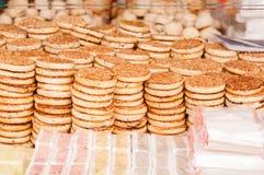 Sesame pancakes. On the street vendors Stock Photography