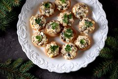 Snack tartlets with boiled chicken, fried mushrooms and onion with egg and mayonnaise. Food royalty free stock image