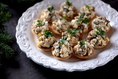 Snack tartlets with boiled chicken, fried mushrooms and onion with egg and mayonnaise. Food Royalty Free Stock Photo