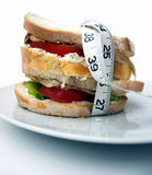 Snack time... Club sandwich - pure white background Royalty Free Stock Image