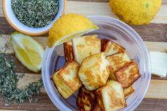 Snack time! Grilled Halloumi Stock Image