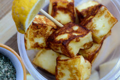 Snack time! Grilled Halloumi Stock Photos