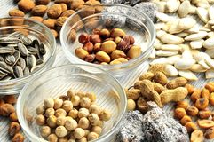 Snack time nuts and dried fruits Royalty Free Stock Photography