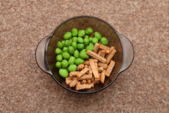 Snack to beer, salted rusks, nuts with wasabi. Sharp Royalty Free Stock Image