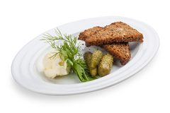 Snack to beer. Spicy toasts with pickled cucumbers. stock photos