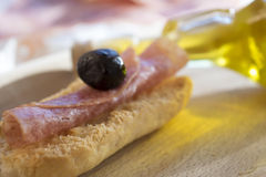 Snack toast and salami Stock Photography