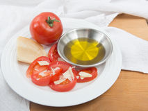 Snack of tomatoes and parmesan cheese Royalty Free Stock Images