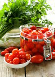 Snack tomatoes pickled with herbs Royalty Free Stock Photography