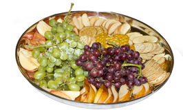 Snack Tray with Grapes, Fruit Slices and Crackers Royalty Free Stock Photo