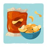 Snack vector illustration. Vintage card with chips Stock Photos