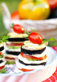Snack from vegetables and cheese sauce. Tasty vegetable appetizer of zucchini, tomatoes, eggplant and cheese sauce on the background of the basket with ripe Royalty Free Stock Images