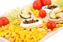 Snack with vegetables and crackers Royalty Free Stock Photography