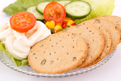 Snack with vegetables and crackers Royalty Free Stock Images