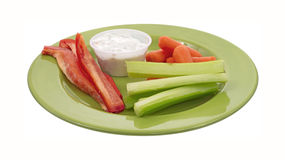 Snack vegetables on green plate Stock Photos