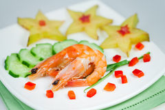 Snack of vegetables with shrimp Royalty Free Stock Image