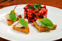 Snack from vinaigrette salad with herring on toasts from rye bread. Vinaigrette salad on a white plate with rye bread toasts with slices of herring and chard royalty free stock photo