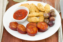Snack on white plate Royalty Free Stock Image