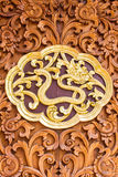 Snack wood Carving Wall sculptures in thai temple Stock Images