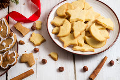 Snacking Christmas cookies on a plate Stock Photo