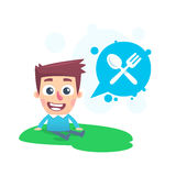 Snacking on fresh air. Cartoon conceptual illustration of funny character Stock Photos