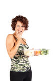 Snacking Healthy. Pretty woman snacking on vegtables Stock Photo