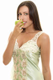 Snacking Healthy, woman with apple Stock Images