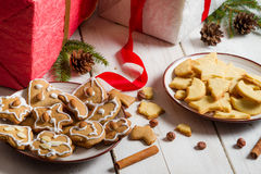 Snacking homemade christmas cookies Royalty Free Stock Photo