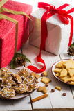 Snacking homemade christmas cookies on a plate Royalty Free Stock Photography