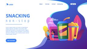 Snacking non-stop concept landing page. Business people eating hamburgers and drinking soft drinks near huge junk food. Snacking non-stop, junk food eating vector illustration