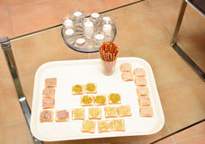 Snacks for aperitif in France. Home furnishings stock images