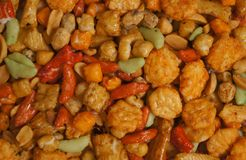 Snacks background with salty crunchy treats Stock Photography