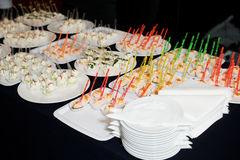 Snacks on banquet table Royalty Free Stock Images