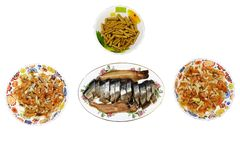 Snacks for beer keta fish herring and crackers stock image