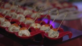 Snacks on a buffet table stock video footage
