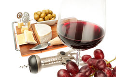 Snacks of cheese and wine of various products. Stock Photo
