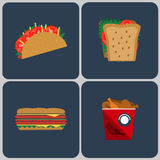 Snacks colorful icon set Royalty Free Stock Image